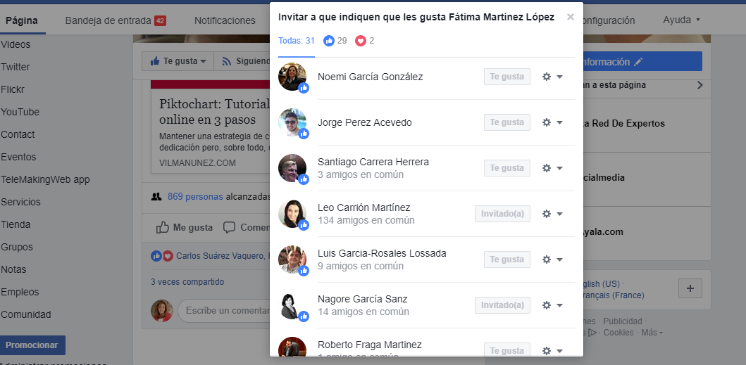 Invitar usuarios pagina facebook