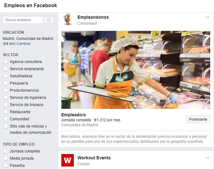 Ofertas trabajo facebook