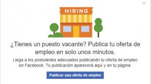 Publicar ofertas trabajo facebook