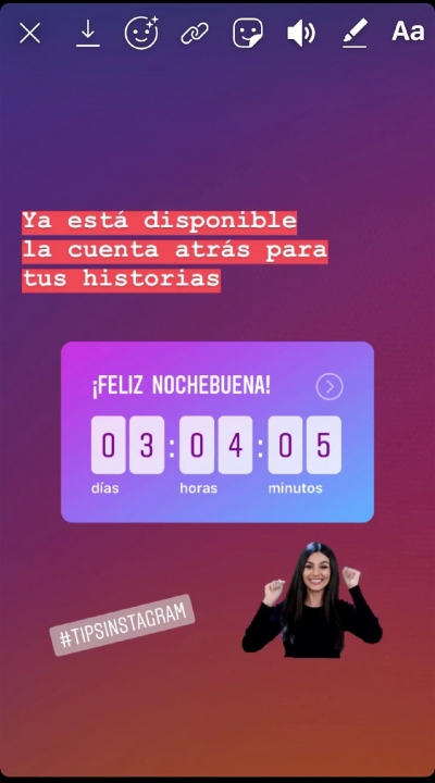 Cronómetro cuenta atrás historias instagram