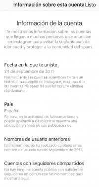 Información cuenta Instagram verifcicacion