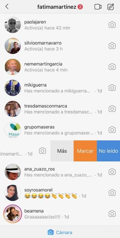 Eliminar mensajes directos de Instagram