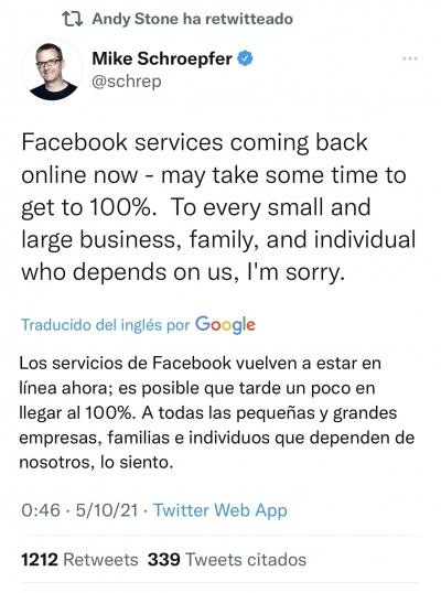 Respuesta de FAcebook a la caída